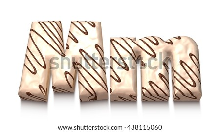 M letter of white chocolate with brown cream in 3d rendered on white background. - stock photo