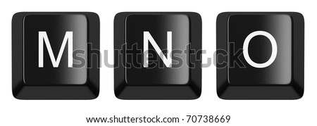M, N, O black computer keys alphabet isolated on white