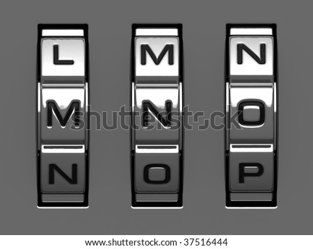 M, N, O letters from combination lock alphabet - stock photo