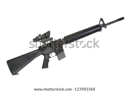 M16 rifle isolated on a white background - stock photo