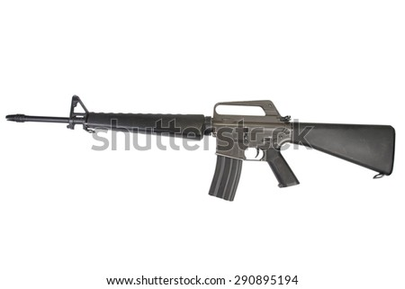 M16 rifle Vietnam War period isolated on a white background - stock photo