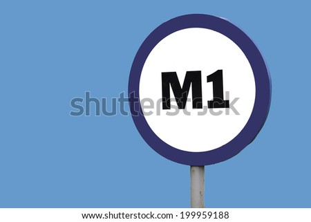 M1 sign  with copy space left - stock photo
