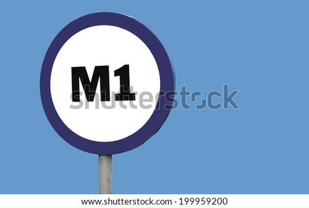 M1 sign  with copy space right - stock photo