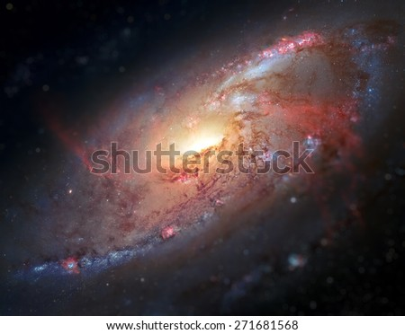 M106, Spiral Galaxy. Also known as NGC 4258, M106 lies 23.5 million light-years away, in the constellation Canes Venatici. Elements of this image furnished by NASA. - stock photo
