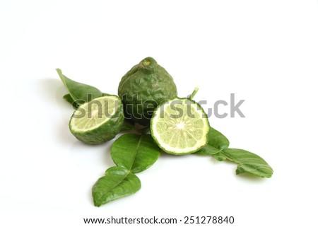 Ma-krut or Kaffir lime or leech lime or Mauritius Papeda or Bergamot.  - stock photo