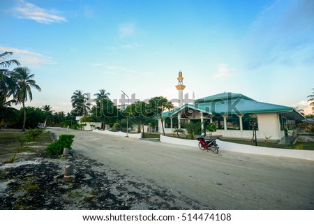 Maafushi Island, Maldives - November 2, 2016:View of a public mosque in the morning in the village of Maafushi Island, Maldives.