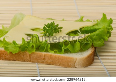 Maasdam cheese sandwich with salad and thymr on the wooden background