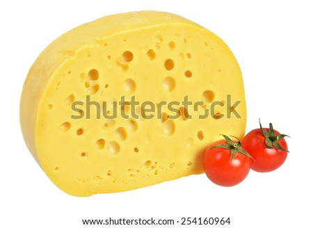 Maasdam cheese with large holes. Isolated on white background.
