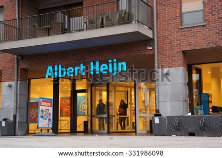 MAASEIK, BELGIUM - OCTOBER 23: Belgian Affiliate of Albert Heijn, the biggest Dutch supermarket chain in The Netherlands owned by Ahold, a Dutch international retailer. Taken on October 23, 2015