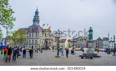 MAASTRICHT, NETHERLANDS, APRIL 12, 2014: View over markt and city hall in Maastricht. - stock photo