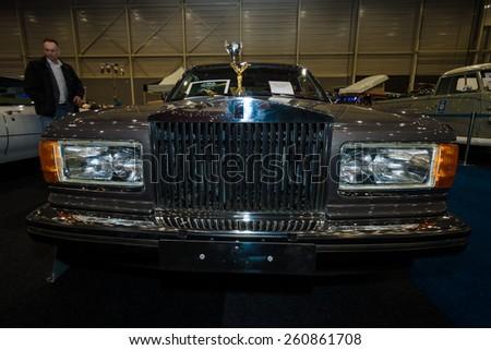 MAASTRICHT, NETHERLANDS - JANUARY 09, 2015: A Full-size luxury car Rolls-Royce Silver Spirit, 1988. International Exhibition InterClassics & Topmobiel 2015 - stock photo