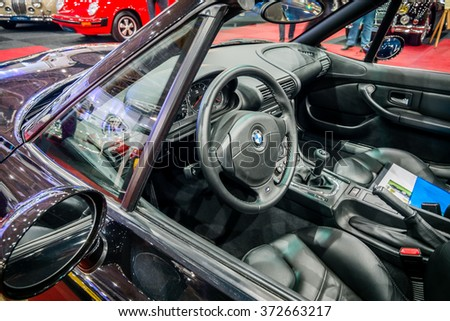 MAASTRICHT, NETHERLANDS - JANUARY 14, 2016: Cab of the compact luxury sports car BMW Z3M, 1999. International Exhibition InterClassics & Topmobiel 2016