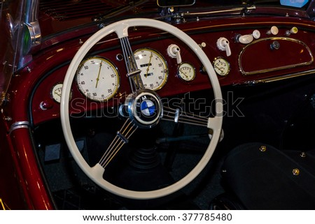 MAASTRICHT, NETHERLANDS - JANUARY 15, 2016: Cabin of a vintage car BMW 328 Roadster, 1936. International Exhibition InterClassics & Topmobiel 2016