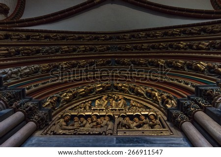 MAASTRICHT, NETHERLANDS - JANUARY 09, 2015: Detail of a interior of Basilica of St. Servatius. The Basilica of St. Servatius is a oldest Roman catholic church the Netherlands.