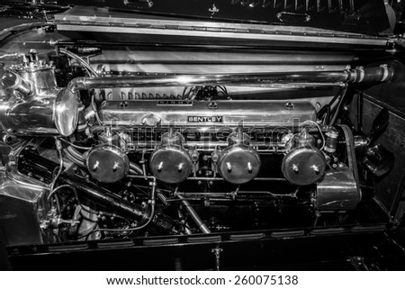 MAASTRICHT, NETHERLANDS - JANUARY 09, 2015: Engine of a race car Bentley, circa 1920-1930. Black and white. International Exhibition InterClassics & Topmobiel 2015 - stock photo