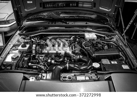 MAASTRICHT, NETHERLANDS - JANUARY 14, 2016: Engine of Volvo 480, close-up. Black and white. International Exhibition InterClassics & Topmobiel 2016