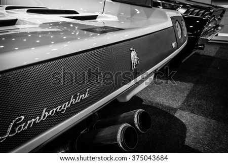 MAASTRICHT, NETHERLANDS - JANUARY 15, 2016: Fragment of a high-performance mid-engined sports car Lamborghini Diablo VT 6.0, 2000. Black and white. Intern. Exhibition InterClassics & Topmobiel 2016