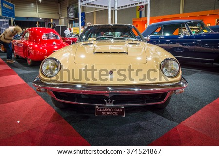 MAASTRICHT, NETHERLANDS - JANUARY 14, 2016: Grand tourer coupe Maserati Mistral, 1964. International Exhibition InterClassics & Topmobiel 2016