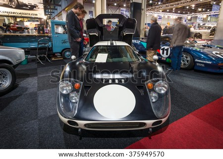 MAASTRICHT, NETHERLANDS - JANUARY 15, 2016: High performance American-British endurance racing car Ford GT40 Mark IV, 1967. International Exhibition InterClassics & Topmobiel 2016 - stock photo