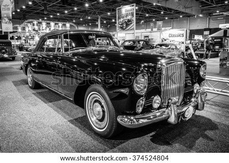 MAASTRICHT, NETHERLANDS - JANUARY 14, 2016: High-performance luxury car Bentley Continental S2 Drophead Coupe by Park Ward, 1963. Black and white. Intern. Exhibition InterClassics & Topmobiel 2016 - stock photo