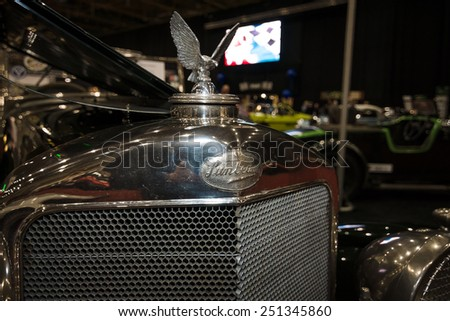 MAASTRICHT, NETHERLANDS - JANUARY 08, 2015: Hood ornament of a sports car Sunbeam 30 HP 90, 1927. International Exhibition InterClassics & Topmobiel 2015