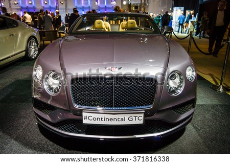 MAASTRICHT, NETHERLANDS - JANUARY 14, 2016: Luxury car Bentley Continental GTC V8S, since 2016. International Exhibition InterClassics & Topmobiel 2016