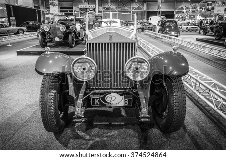 MAASTRICHT, NETHERLANDS - JANUARY 14, 2016: Luxury car Rolls-Royce Phantom I Boattail Roadster, 1929. Black and white.  International Exhibition InterClassics & Topmobiel 2016