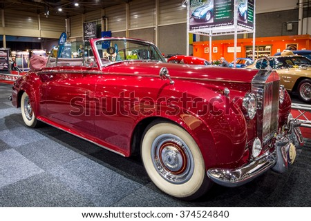 MAASTRICHT, NETHERLANDS - JANUARY 14, 2016: Luxury car Rolls-Royce Silver Cloud II Drophead Coupe, 1962. International Exhibition InterClassics & Topmobiel 2016