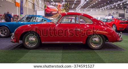 MAASTRICHT, NETHERLANDS - JANUARY 15, 2016: Luxury sports car Porsche 356A, 1957. International Exhibition InterClassics & Topmobiel 2016