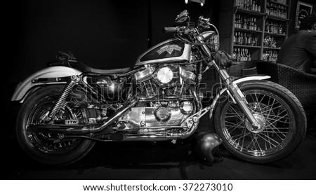 MAASTRICHT, NETHERLANDS - JANUARY 14, 2016: Motorbike Harley-Davidson Seventy-Two. Black and white. International Exhibition InterClassics & Topmobiel 2016 - stock photo