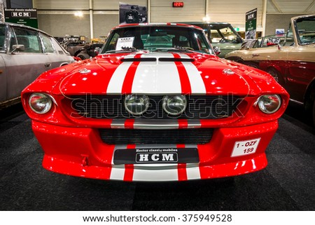 MAASTRICHT, NETHERLANDS - JANUARY 15, 2016: Pony car Shelby Mustang GT500CR, 1967. International Exhibition InterClassics & Topmobiel 2016 - stock photo