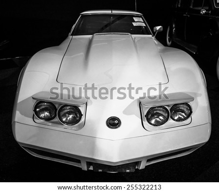 MAASTRICHT, NETHERLANDS - JANUARY 08, 2015: Sports car Chevrolet Corvette (C3) Stingray. Black and white. International Exhibition InterClassics & Topmobiel 2015