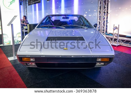 MAASTRICHT, NETHERLANDS - JANUARY 14, 2016: Sports car Ferrari Dino 308 GT 4, 1974. International Exhibition InterClassics & Topmobiel 2016