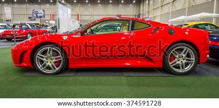 MAASTRICHT, NETHERLANDS - JANUARY 15, 2016: Sports car Ferrari F430, 2006. International Exhibition InterClassics & Topmobiel 2016 - stock photo