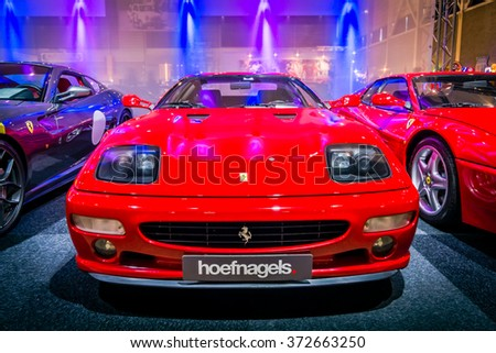 MAASTRICHT, NETHERLANDS - JANUARY 14, 2016: Sports car Ferrari Testarossa (F512M), 1995. International Exhibition InterClassics & Topmobiel 2016