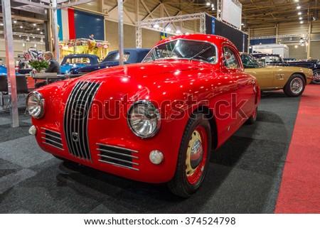 MAASTRICHT, NETHERLANDS - JANUARY 14, 2016: Sports car Fiat 1100 S Mille Miglia, 1947. International Exhibition InterClassics & Topmobiel 2016 - stock photo