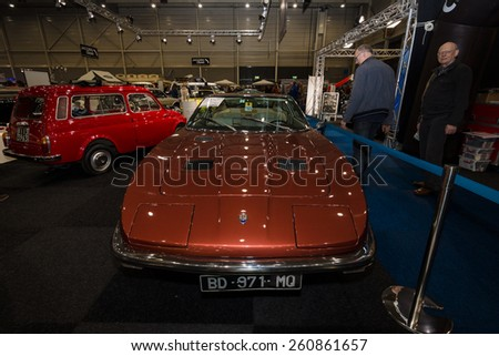 MAASTRICHT, NETHERLANDS - JANUARY 09, 2015: Sports car Maserati Indy 4900 (Tipo AM 116), 1973. International Exhibition InterClassics & Topmobiel 2015
