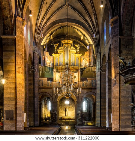MAASTRICHT, NETHERLANDS - MAY 11: Unique imag of the basilica Onze Lieve Vrouwe, oldest church of the city, on May 11, 2015 in Maastricht, Netherlands - stock photo
