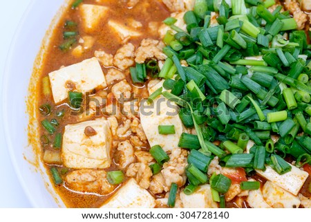 Mabo tofu or mapo doufu the Chinese dish from China's Sichuan - stock ...