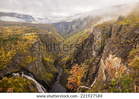 Mabodalen valley and waterfall Voringfossen situated betwen Hardangervidda and Hardangerfjord National Parks,  in the municipality of Eidfjord, Norway - stock photo