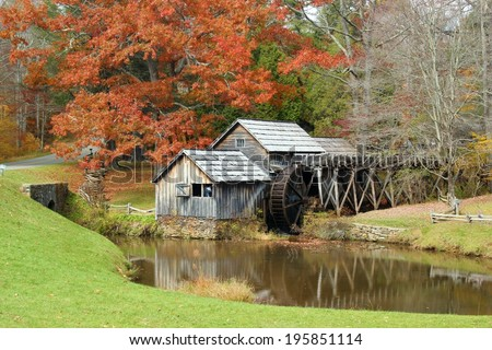 Mabry Mill, a restored gristmill on the Blue Ridge Parkway in Virginia - stock photo