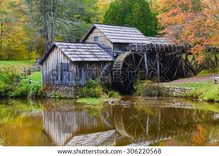 Mabry Mill in Autumn - Blue Ridge Parkway, Virginia USA  - stock photo