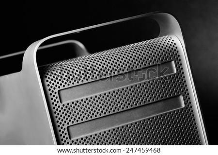 Mac Pro case close up with unique composition - stock photo