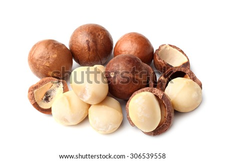 Macadamia nut on white background - stock photo
