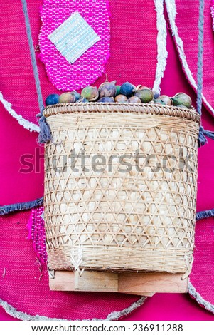 macadamia nuts in Bamboo basketwork