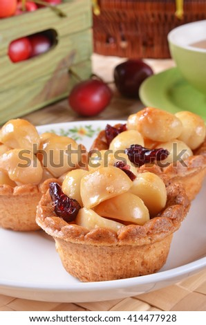 Macadamia nuts tart   - stock photo