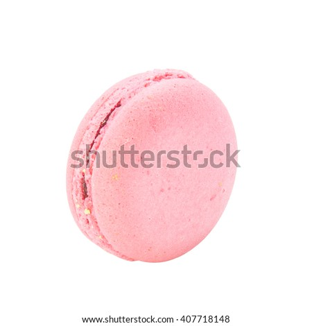 Macaron dessert with strawberry flavour on white background