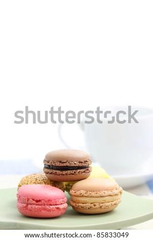 Macaron isolated in white background - stock photo