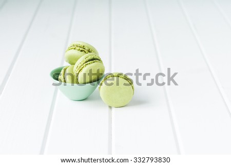 macaron sweet biscuit, green colours - stock photo