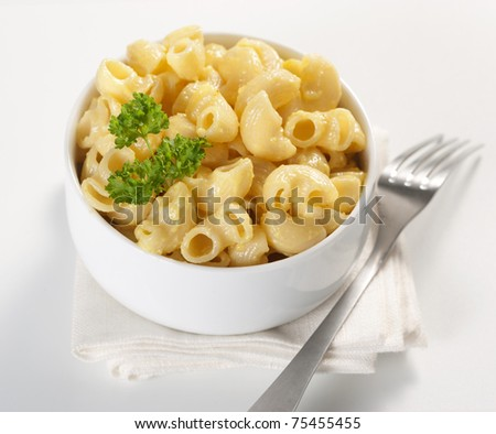Macaroni and cheese in the bowl - stock photo